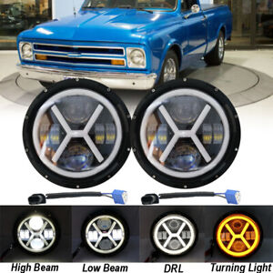 Pair 7 Inch 220W LED Headlight HI/LO Projector For Chevy C10 Camaro Pickup Truck