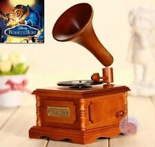 Wood Phonograph Wind Up Music Box : Beauty And The Beast Theme Song