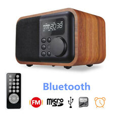 Mini Wooden Digital Speaker Bluetooth FM Radio Alarm Clock USB Remote Control