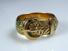 Estate Vintage Robert Pringle Ornate 18k Yellow Gold Wide Buckle Flowers Ring