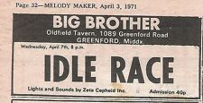 IDLE RACE (ELO) UK TIMELINE Advert - Greenford Weds  7-April-1971  3x2 inches