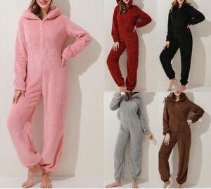 Orshoy Jumpsuit Overall Damen Onesie Schlafoverall Einteiler Pyjama Lang Strampler Nachtw/äsche Langarmshirt Playsuit mit Rei/ßverschluss /& Kapuze