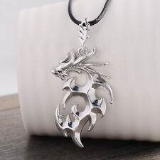 Men 925 Sterling Silver Punk Flame Dragon Pendant Necklace Fashion Jewelry