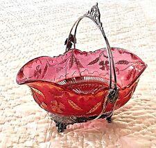 "Antique EAPG US Glass ""Delaware"" Rose Stain-Gold Gilt; Sheffield Bride Bowl-Rare"