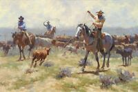 When It's All Workin'  by Jim Rey Western Cowboy Calf Roping Horses Canvas 24x36