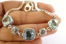 Blue Topaz Trio 3-Stone Balinese 925 Sterling Silver Bracelet