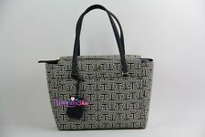 Authentic Tory Burch T Parker Small Navy Geo-t Printed Vinyl Tote