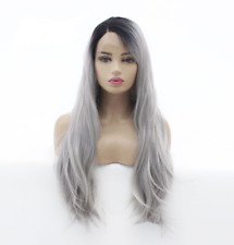 Natural wave long synthetic front lace wig Sexy Ombre Grey Color
