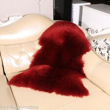 Real Australian Single Pelt Sheepskin  2'x3' Rug Bedroom Burgundy Lamb fur rug