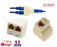2x LOT 1 à 2 voies LAN Ethernet cordon réseau câble RJ45 femelle séparateur