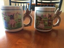 Set of 2 Easter Bunny Coffee Tea Mugs Drinkware