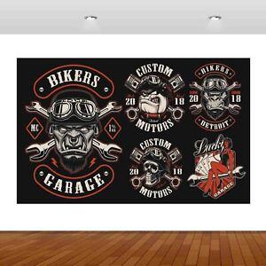 Hell Riders Biker Garage Motorbike Skull Decal Wall Sticker Poster Vinyl S69