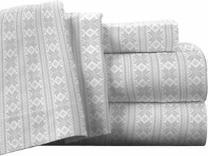 Pointehaven Flannel Deep Pocket Set with Oversized Flat Sheet, King, Fair Isle