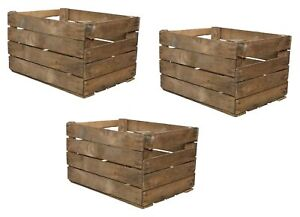 3 Solid Wooden Apple Crate Box Rustic Used Apple Crate Single 50cm x 40cm x 30cm