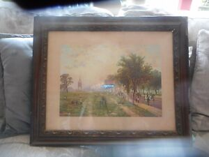 Large old print of Rotten Row, Hyde Park. R.F.McIntyre. 21 x 17 inches.
