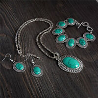 Jewelry Set Turquoise Earrings Bracelet Necklace Oval Design Wholesale
