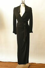 Mondi Brown Long Wrap Dress Gown  Slinky Evening 36