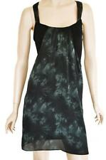 DOTTI SZ 8 WOMENS Black & Green Print Sleeveless Racer Back Short Smock Dress