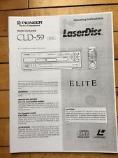 Owners Operating Instructions Manual For PIONEER ELITE CLD-59,