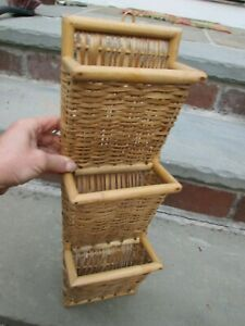 """VINTAGE WICKER LETTER MAIL STORAGE HANGING RACK WOVEN 3 TIER 18"""" LONG SUMMER WOW"""