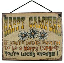 8x10 Camping Sign Lucky Enough Happy Summer Camp Lake RV Hiking Travel Vacation