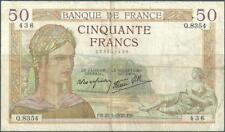 50 FRANCS CERES - 27.5.1938 - Billet de banque français (TB)