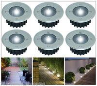 SOLAR POWERED OUTDOOR GARDEN DECK DRIVEWAY STAINLESS STEEL PATH LED SPOT LIGHTS