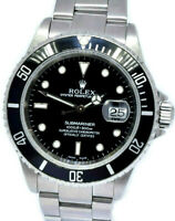Rolex Submariner Date Steel Black Dial/Bezel Mens 40mm Watch Box/Papers A 16610