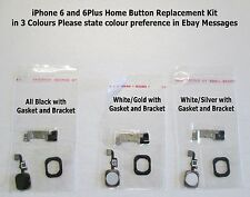 "iPhone 6 4.7""/ 6 Plus 5.5"" Touch Screen White Silver Home Button Gasket+Bracket"