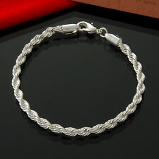 "925 Sterling Silver Plated francese CORDA RITORTA linea 8 ""Catena Braccialetto Regalo 4mm"