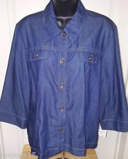 Alfred Dunner NWT Woman's Blue Jean Button Down Shirt Size 16