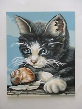 """Vintage PAINT BY NUMBERS Completed Unframed Picture 9.5"""" x 12"""" KITTEN"""