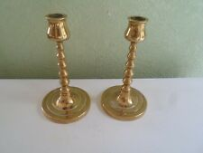 "Pair of Decorative Vintage Retro Brass Candlesticks  6"" Tall With Round Bases"