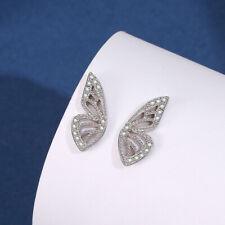 Women Fashion 925 Sterling Silver AAA+ Zircon Butterfly Wing Charm Stud Earring