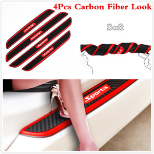 4x Car Accessories Door Sill Scuff Plate Cover Step Protector Carbon Fiber Look