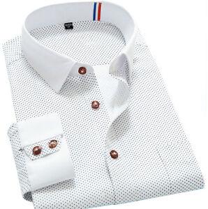 Mens Long Sleeve Dress Shirts Luxury Casual Slim Business Work Polka Dot Shirts
