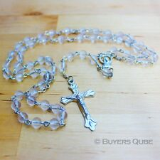 """Beautiful Clear Round Glass Beads Rosary 20"""" Length w/ Enlarge Virgin Mary Medal"""