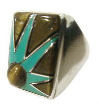 Zuni Stunning Ring by CLARENCE BOOQUA Sterling Silver Multi-Stone Size 10