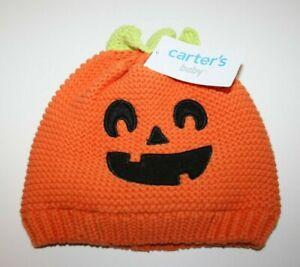 Carter's Baby Halloween Pumpkin Knit Hat Orange Size 3-9 / 12-24 months NWT NEW