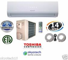 "9000 BTU 14 SEER Ductless Mini Split Air Conditioner 17"" Full Installation Set"