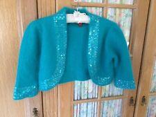 Monsoon Ladies Angora Blend Turquoise Bolero/ Shrug Size 10/12 With Sequins.