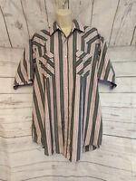 VTG Plains Western Wear Mens XL Pearl Snap Short Sleeve Shirt Gray Striped
