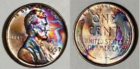 1957 D - ABSOLUTELY STUNNING - MONSTER TONED - LINCOLN WHEAT CENT  #9863