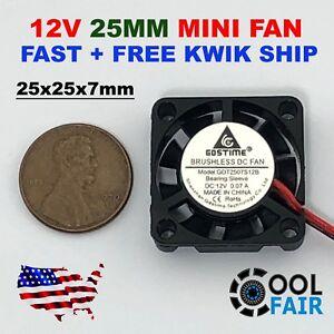 25mm 12V Cooling Fan 25x25x7mm DC Mini Cooler Fan 2507 2-Pin