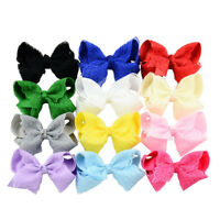 12pcs Hair Clip Grosgrain Ribbon Lace Flower Bow Hairpin Baby Girl Accessories