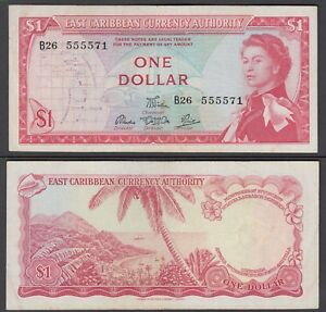 East Caribbean States 1 Dollar 1965 in (VF) Condition Banknote P-13d