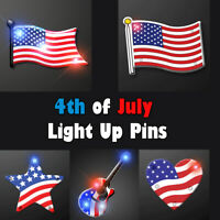 4th Of July Light Up LED Blinky Body Light Pins Jewelry - 12 PCS