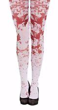 Blood Stain Splattered Tights Halloween Nurse Zombie Ladies Fancy Dress Costume