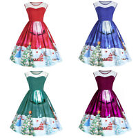 Womens Girls Santa Lace Panel Christmas Dress Vintage Xmas Swing Retro Dresses