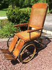 Antique Colson Corp 4 Wheel Wood /Wicker Potty Chair Wheelchair - Very Good